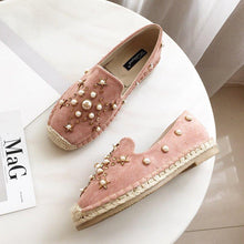 Load image into Gallery viewer, Rhinestone Pearl Flat Slip-on Espadrilles
