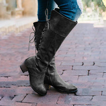 Load image into Gallery viewer, Back Lace-Up Mid Heel Mid-Calf Retro Boots