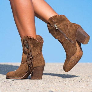 Daily Suede Chunky Heel All Season Boots