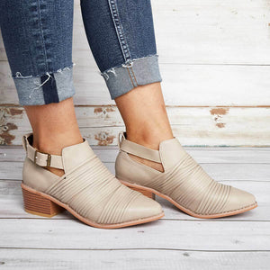 Women Classic Ankle Adjustable Buckle Booties Casual Comfort Plus Size Shoes