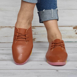 Women Classic PU Loafers Lace Up Shoes