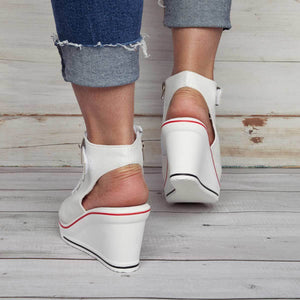 Canvas High Shoes Adjustable Buckle Peep Toe Creepers