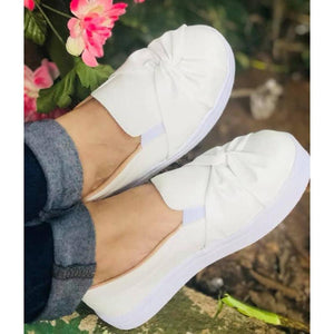 Woman Bowknot Solid Casual Platform Flats Sneakers Loafers