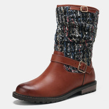 Load image into Gallery viewer, Women Winter Splicing Buckle Strap Long Boots