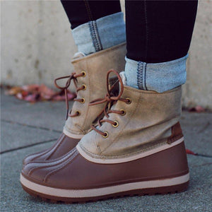 Women Casual Lace-Up Comfy Flat Heel Waterproof Boots