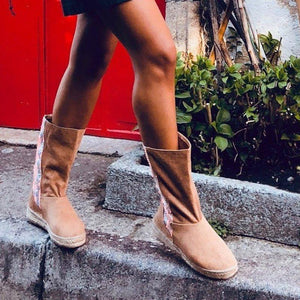 Espadrilled Slip On Spring Cloth Boots