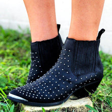 Load image into Gallery viewer, Studded Pointed Toe Ankle Boots Faux Suede Slip-On Women Booties