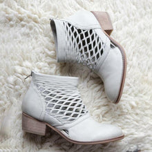 Load image into Gallery viewer, Hollow-Out Chunky Heel Pointed Toe Ankle Boots