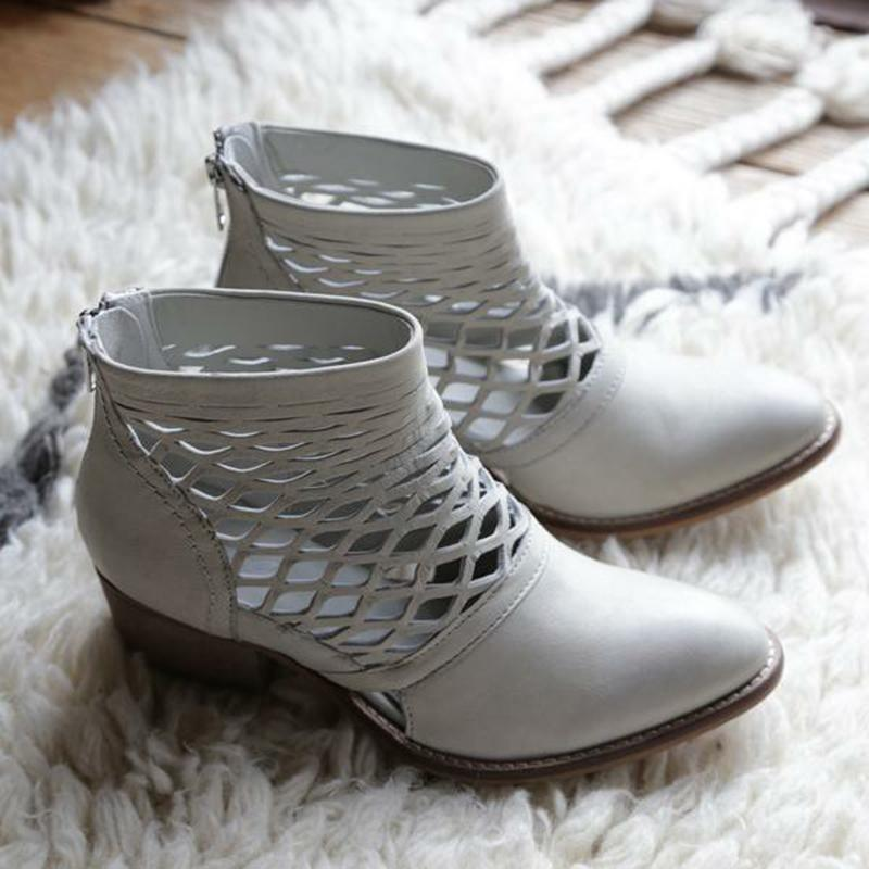 Hollow-Out Chunky Heel Pointed Toe Ankle Boots