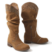 Load image into Gallery viewer, Vintage Side Zipper Chunky Heel Rivet Knee-High Boots Plus Sizes
