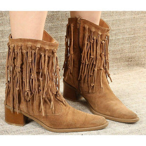 Women's Fringe Tassel Casual Boots Pointed Toe Fashion Boots