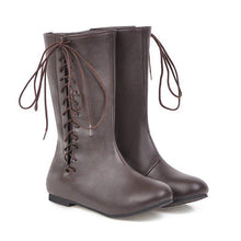 Load image into Gallery viewer, Flat Side Lace-up Round Toe Boots