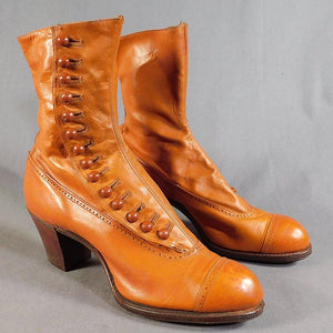 Women Artificial Leather Chunky Heel Button Mid-Calf Boots