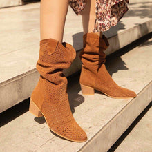 Load image into Gallery viewer, Casual Slip On Chunky Heel Suede Boots