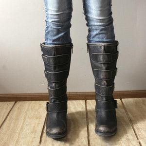 Low Heel Zipper Knee-High Boots Artificial Leather Adjustable Buckle Tall Boots