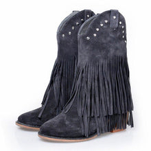Load image into Gallery viewer, Mid-Calf Fringe Boots Artificial Leather Slip-On Boots