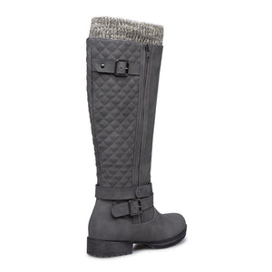 Women Winter Slip-On Buckle Sweater Knit Boots