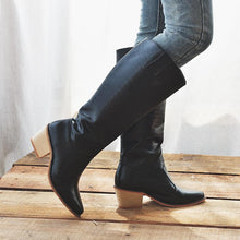 Load image into Gallery viewer, Office Slip On Chunky Heel Winter Knee Boots