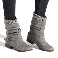 Load image into Gallery viewer, Women Winter Slip-On Sweater Knit Button Boots