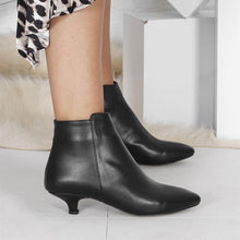 Load image into Gallery viewer, Kitten Heel Pointed Toe Elegant Artificial Leather Zipper Low Heel Ankle Boots