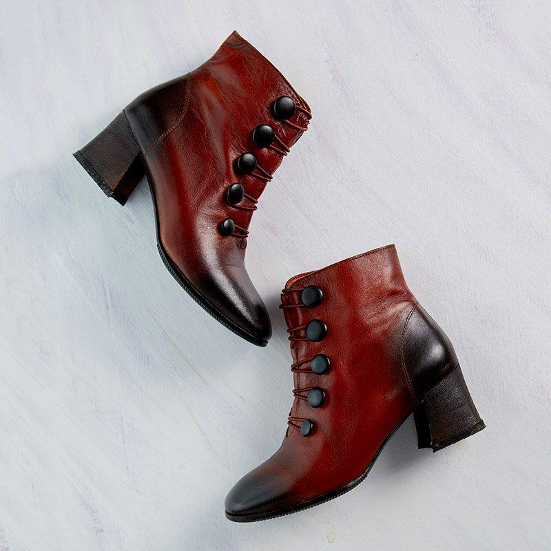 Women Slip-On Elastic Band Button Ankle Boots