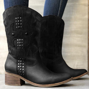 Rivet Slip-On Mid-Calf Boots Vintage Block Heel Women Boots Shoes
