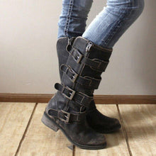 Load image into Gallery viewer, Low Heel Zipper Knee-High Boots Artificial Leather Adjustable Buckle Tall Boots
