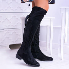 Load image into Gallery viewer, Back Lace Up Side Zipper Chunky Heel Faux Suede Boots