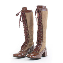 Load image into Gallery viewer, Knee-High Lace-Up Winter Artificial Leather Block Heel Boots