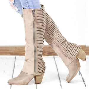 Very Strappy Side Zipper Chunky Heel Suede Knee Boots