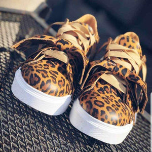 Lace-up Pu Bow Sneakers Womens All Season Sneakers