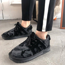 Load image into Gallery viewer, Warm Lace Up Flat Cloth Sneakers