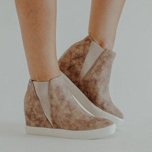 Load image into Gallery viewer, Slip-On Wedge Heel Round Toe Ankle Boots Womens Wedges Sneakers