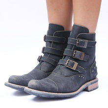 Load image into Gallery viewer, Vintage Women Chunky Heel Buckle Strap Ankle Boots