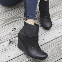 Load image into Gallery viewer, Wedge Heel Side Zipper Ankle Boots