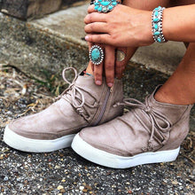 Load image into Gallery viewer, Wedge Heel Side Zipper Lace Up Suede Sneakers