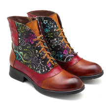 Load image into Gallery viewer, Lace-Up Flower Ankle Boots Vintage Style Boots With Side Zipper