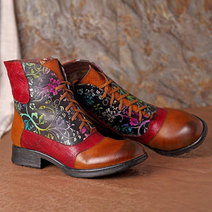 Lace-Up Flower Ankle Boots Vintage Style Boots With Side Zipper