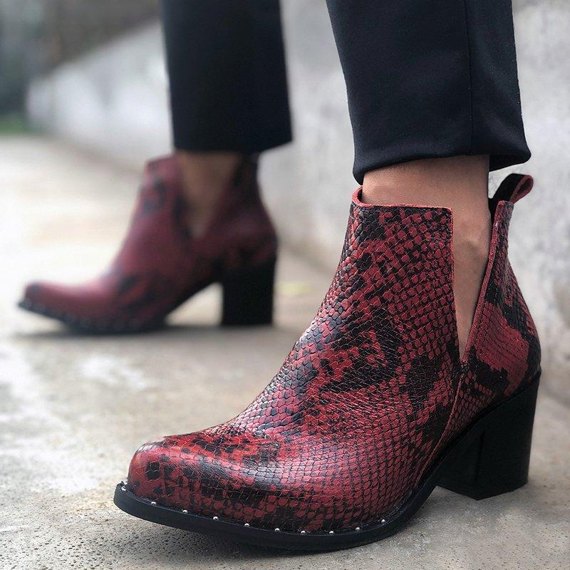 Women's Stylish Snake Print Block Heel Ankle Booties Slip-On Vintage Boots