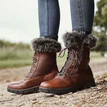 Load image into Gallery viewer, Winter Pu leather Fur Lined Low Heel Lace-Up Snow Boots