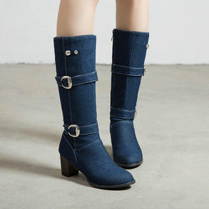 Women's Plus Size Chunky Heel Denim Buckle Mid-Calf Boots