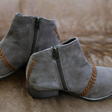 Load image into Gallery viewer, Braided Side Zipper All Season Chunky Heel Ankle Boots