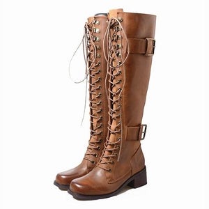 Lace-up Pu Leather Knee-High Long Boots