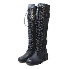 Load image into Gallery viewer, Lace-up Pu Leather Knee-High Long Boots