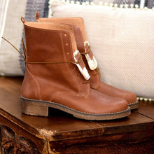Load image into Gallery viewer, Lace-Up Chunky Heel Pu Leather Mid-Calf Casual Boots