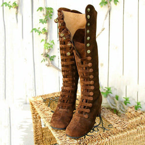 Women Knee-High Button Snap Up Chunky Heel Boots