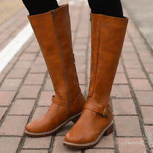 Load image into Gallery viewer, Retro Simple Style Side Zippper Chunky Heel Round Toe Boots