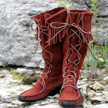 Load image into Gallery viewer, Lace-Up Knee-High Boots Tassel Artificial Leather Womens Boots
