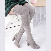 Load image into Gallery viewer, Side Zipper Chunky Heel Fall Suede Knee Boots