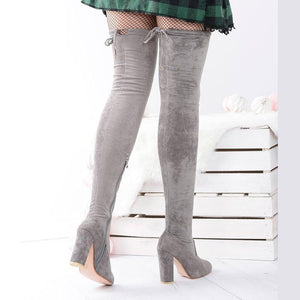 Side Zipper Chunky Heel Fall Suede Knee Boots